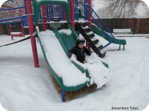 tyke sliding in snow